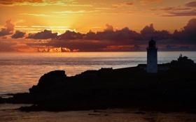 Картинка море, небо, скалы, рассвет, маяк