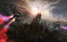 Обои солнце, горы, замок, скалы, атака, арт, самолеты