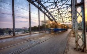 Картинка мост, город, трамвай
