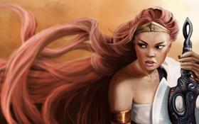Картинка взгляд, девушка, лицо, фон, игра, рука, меч