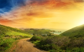 Обои дорога, море, небо, вода, горы, природа, фото