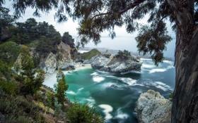 Обои Beach, Waterfall, Summer, Ocean, Fog, McWay Falls, Pacific