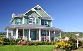 Картинка газон, пейзаж, трава, небо, солнце, дом, кусты