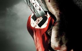 Обои кровь, нож, рука, флаг