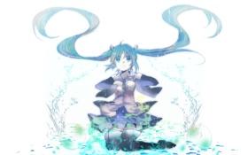 Обои вода, девушка, капли, брызги, арт, vocaloid, hatsune miku