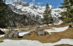Обои горы, вершины, камни, ущелье, снег