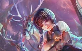 Картинка грусть, лес, снег, игрушка, арт, девочка, олени