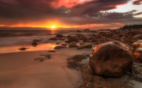 Обои rock, beach, ocean, sunset