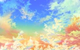 Обои небо, облака, сияние, яркие, звёзды, золотое, Gold heaven