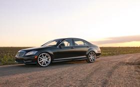 Картинка небо, чёрный, Mercedes-Benz, black, S550, передняя часть, мерседес бенц