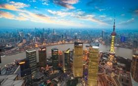 Картинка фото, вечер, панорама, Шанхай