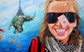 Картинка девушка, рыбки, абстракция, улыбка, рисунок, эйфелева башня, слон