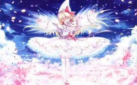 Обои небо, девушка, облака, цветы, ленты, крылья, шляпа