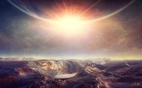 Картинка небо, вода, солнце, звезды, фантастика, яркий свет, планета