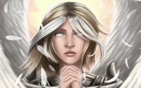 Обои волосы, лицо, ангел, Guardian Angel, арт, крылья, взгляд