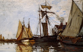 Обои вода, живопись, Клод Моне, Monet Claude, Солнце в порту Онфлер, Pont of Honfleur Sun
