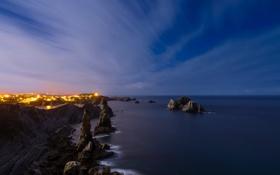 Картинка ночь, скалы, море
