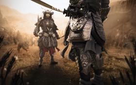 Картинка меч, бой, воин, маска, самурай, шлем, броня