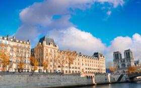 Обои город, река, фото, Франция, париж, дома