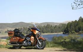 Обои touring, небо, озеро, bike, байк, ветка, крававец