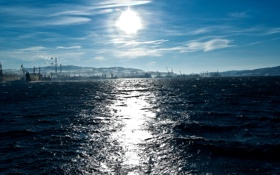 Обои море, волны, небо, солнце, берег, порт, доки