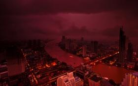 Картинка ночь, тучи, шторм, мост, огни, здания, буря