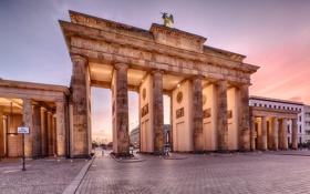 Обои дома, утро, Германия, Берлин, Бранденбургские ворота