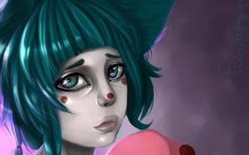 Обои грусть, взгляд, девушка, лицо, пятна