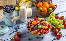 Картинка черника, клубника, виноград, десерт, fruit, strawberry, мандарин
