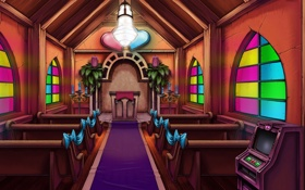 Обои church, cloth, benches, Larry Reloaded