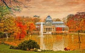 Картинка осень, небо, деревья, пруд, парк, фонтан, холст