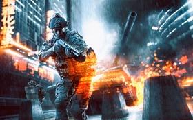 Обои Battlefield 4: Dragon's Teeth, бой, солдат, танк, бронежилет, огни, щит