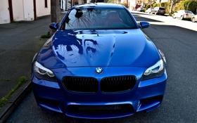 Обои отражение, BMW, Blue, передок, F10