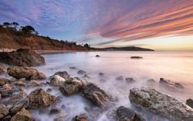 Картинка небо, облака, камни, океан, побережье, англия, выдержка