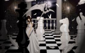 Обои девушка, шахматы, фигуры, король, Юки Кросс Куран, Артемида
