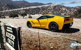 Обои горы, желтый, Corvette, Chevrolet, Шевроле, Top Gear, вид сзади