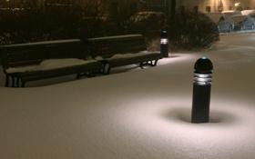 Обои город, снег, ночь