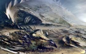 Картинка скалы, дракон, человек, монстр, Guild Wars