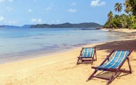 Обои море, пляж, лето, солнце, шезлонг, summer, beach