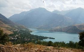 Картинка деревья, горы, озеро, долина