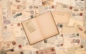 Обои книга, письма, почта, винтаж, марки, vintage