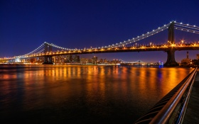 Обои небо, ночь, мост, огни