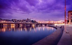 Обои закат, причал, вода, вечер, огни, Швеция, Стокгольм