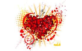 Картинка Сердце, Белый фон, Сердечки, Брызги, Heart
