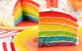 Обои радуга, colorful, торт, rainbow, cake, Happy, День Рождения