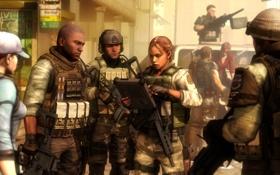 Обои оружие, девушки, солдаты, resident evil, амуниция, BSAA, jill valentine