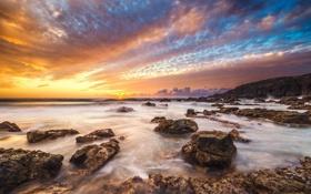 Обои песок, камни, пляж, берег, скалы, расвет