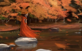 Обои осень, красный, озеро, камни, ветер, воин, арт