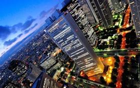 Обои свет, город, огни, небоскребы, вечер, улицы