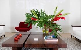 Обои кресло, столик, ковер, гостиная, диван, ваза, цветы